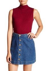 Bobeau Sleeveless Rib Knit Blouse Petite Red