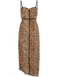 Nanushka Leopard Print Spaghetti Strap Midi Dress Brown