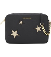 Michael Michael Kors Glitter Star Large Saffiano Leather Cross Body Black Gold
