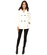 Calvin Klein Double Breasted Belted Stand Collar Faux Wool Ivory Women's Coat White