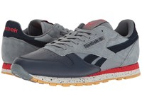 Reebok Classic Leather Sm Asteroid Dust Collegiate Navy Primal Red Skull Grey Gum Men's Shoes Black