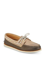 Sperry Gold A O Two Tone Leather Boat Shoes Brown Orange