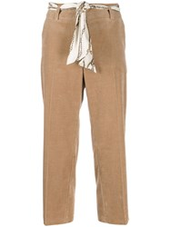 Cambio Corduroy Cropped Trousers Brown