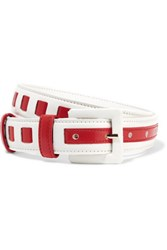 Oscar De La Renta Two Tone Woven Leather Waist Belt Red