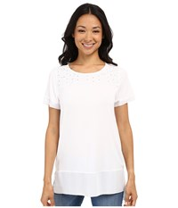 Nydj Mixed Media Knit Top Optic White Women's Short Sleeve Knit