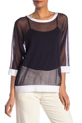 Lafayette 148 New York Chantilly Sheer Sweater Ink