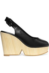 Robert Clergerie Dywood Leather Wedge Sandals Black