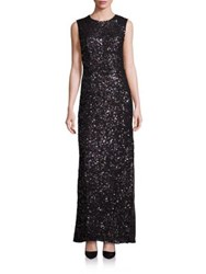 Laundry By Shelli Segal Platinum Sequin Cutout Gown Black