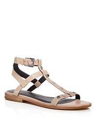 Rebecca Minkoff Sandy Studded Leather T Strap Sandals Nude Silver