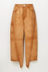 Lanvin Asymmetric Cropped Leather Straight Leg Pants Brown