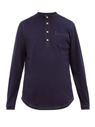 Oliver Spencer Swanfield Long Sleeve Cotton Jersey Henley Top Navy