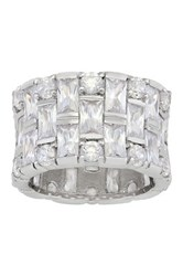 Sterling Silver Round And Emerald Cut Wide Cz Band Ring White