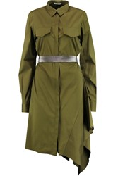 Vionnet Belted Stretch Cotton Blend Shirt Dress Green