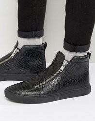 Asos Zip Trainers In Black Snake With Chunky Sole Black