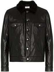 Saint Laurent Leather Jacket With Shearling Collar Black
