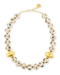 Devon Leigh Round Shell Beaded Necklace Gold
