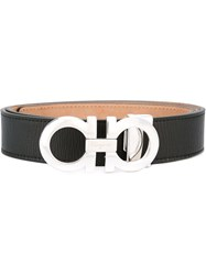 Salvatore Ferragamo 'Double Gancini' Buckle Belt Black