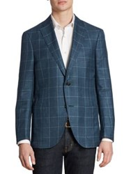 Luciano Barbera Slim Fit Windowpane Wool Silk And Linen Sportcoat Light Blue