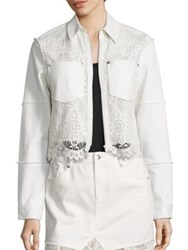 Mcq By Alexander Mcqueen Hybrid Lace Bomber Jacket Ivory
