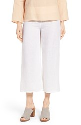 Eileen Fisher Women's Wide Leg Organic Linen Crop Pants White