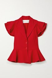 Michael Kors Collection Ruffled Cady Peplum Top Red