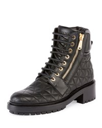 Balmain Army Quilted Leather Combat Boot Noir Black