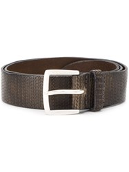 Orciani Embossed Circle Design Belt Brown