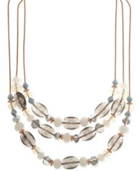 Nine West Rose Gold Tone Multi Bead Triple Row Necklace