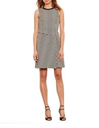 Lauren Ralph Lauren Houndstooth Overlay Dress Black Ivory