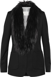 Band Of Outsiders Faux Fur Trimmed Wool Twill Blazer Black