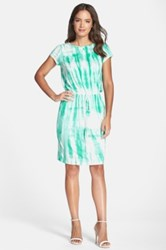 Felicity And Coco Print Short Sleeve Jersey Dress Green