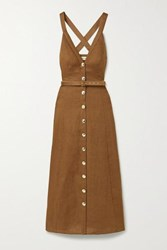 Nicholas Yasmine Linen Maxi Dress Brown
