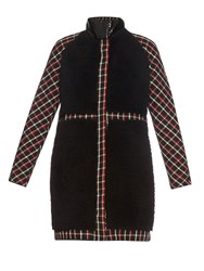 Moncler Gamme Rouge Shearling And Checked Wool Coat
