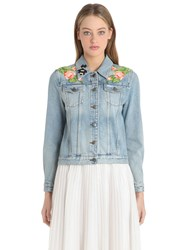 Gucci Slim Fit Embellished Cotton Denim Jacket