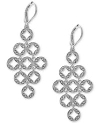 Anne Klein Silver Tone Pave Circles Chandelier Earrings