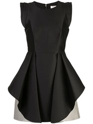 Halston Heritage Flared Two Tone Dress Black