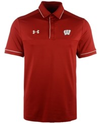 Under Armour Men's Wisconsin Badgers Podium Polo Shirt Red