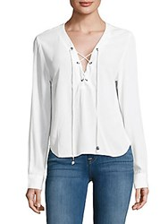 Rails Grace Solid Lace Up Top White