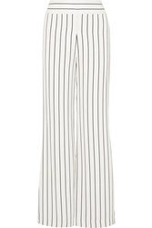 Galvan Pinstriped Crepe Wide Leg Pants White