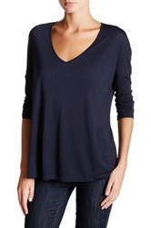 Haute Hippie V Neck Long Sleeve Tee Blue