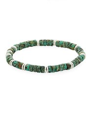 Saks Fifth Avenue African Turquoise Beaded Bracelet Green