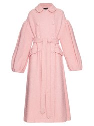 Simone Rocha Oversized Sparkle Wool Coat Pink