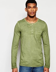 United Colors Of Benetton Long Sleeve Henley Top In Oil Wash Green