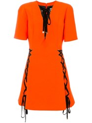Fausto Puglisi Lace Up Detail Dress Yellow And Orange