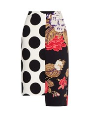 Msgm Asymmetric Polka Dot Crepe Pencil Skirt White Multi
