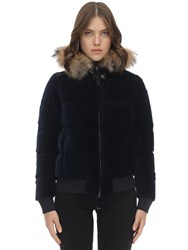 Parajumpers Stephany Velvet Down Jacket W Fur Navy Peony