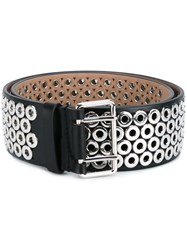 Alaia Eyelet Embellished Leather Belt Black