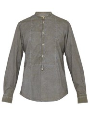 Massimo Alba Striped Henley Cotton Shirt Khaki Stripe