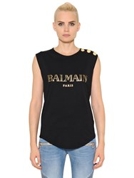Balmain Print Cotton Jersey T Shirt