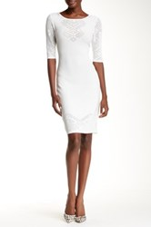 Yoana Baraschi Maize Pointelle Sleeve Bodycon Dress White